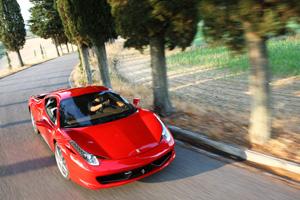 A Ferrari 458 Italia in its natural habitat; the open road