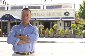 James Hewitt outside The Polo House