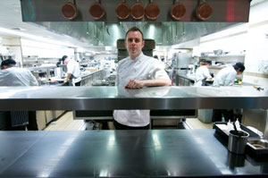 Markus Glocker in the kitchen of Gorden Ramsey, New York