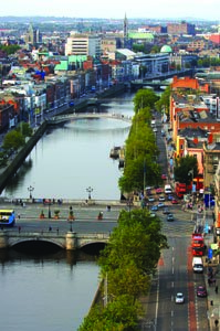 General view of Dublin and its river