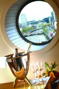 Porthole view of Dublin
