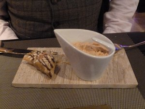 Chocolate Samosa and cardoman tea cream